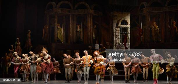 Artists of the company in The Royal Ballet's production of Kenneth MacMillan's perform at The Royal Opera House on October 4, 2021 in London, England.