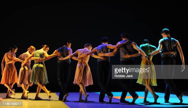 Artists of the company in the Royal Ballet's production of Pam Tanowitz Everyone Keeps Me as part of the Merce Cunningham Centennial at The Linbury...