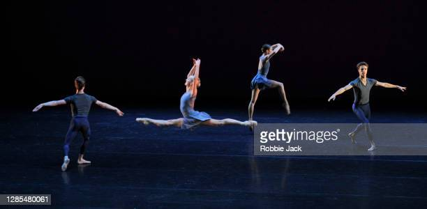 Artists of the company in The Royal Ballet's production of Valentino Zucchetti's Scherzo at The Royal Opera House on November 12, 2020 in London,...