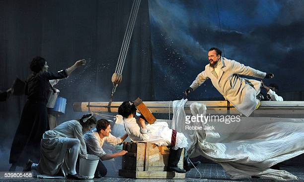 Artists of the company in Theatre du Soleil's production of Les Naufrages du Fol Espoir directed by Ariane Mnouchkine at the Lowland Hall as part of...