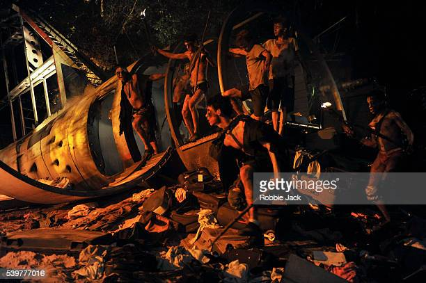 """Artists of the company in William Golding's """"Lord of the Flies"""" directed by Timothy Sheader at the Open Air Theatre Regent's Park in London."""