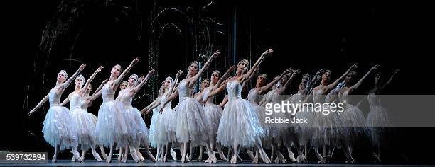 Artists of the company perform in Anthony Dowell's production of Marius Petipa and Lev Ivanov's Swan Lake for the Royal Ballet at the Royal Opera...