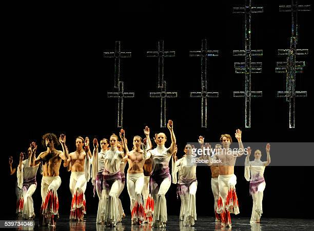 Artists of the company perform in Rambert Dance Company's production of Mark Baldwin's Eternal Light at Sadlers Wells in London