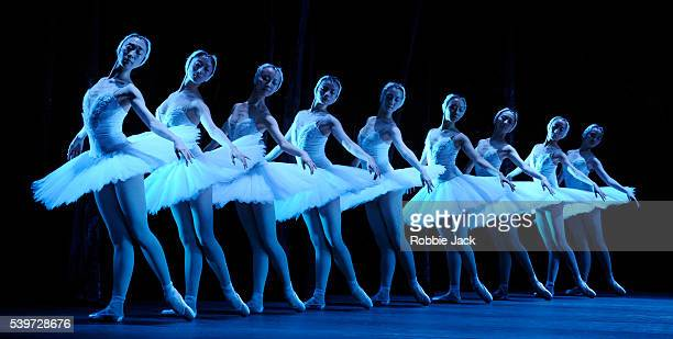 """Artists of the company perform in the National Ballet of China's production of Lev Ivanov and Marius Petipa's ballet """"Swan Lake"""" at the Royal Opera..."""
