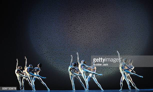 Artists of the company perform in the Royal Ballet's production of Glen Tetley's Voluntaries at the Royal Opera House Covent Garden in London