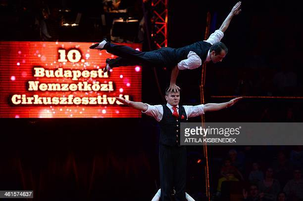 Artists of the Ukrainian 'Godfathers' group performs during the first day of a 5day long 10th International Circus Festival in the Capital Circus of...