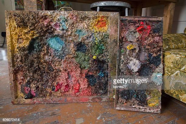 Artist's oil paint palette