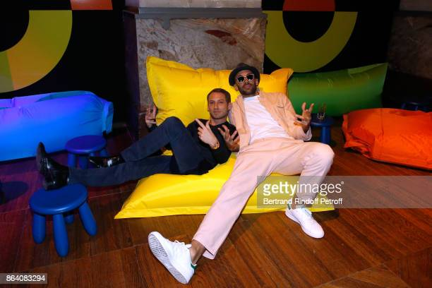 Artists Ora Ito and JR attend the 'Bal Jaune Elastique 2017' Dinner Party at Palais Brongniart during FIAC on October 20 2017 in Paris France