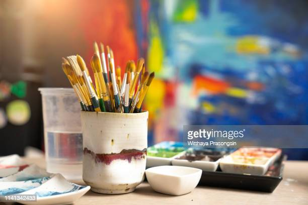 artist's palette with oil paints - painted image stock pictures, royalty-free photos & images