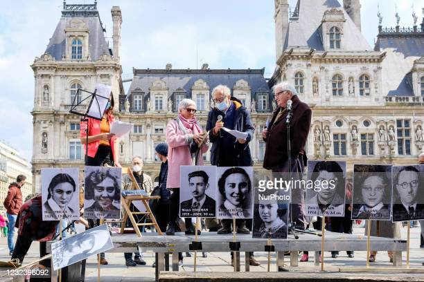 Artists pay homage to the insurgents of the Warsaw ghetto during a gathering at the Place de l Hotel de Ville organized by the Network for the Fight...