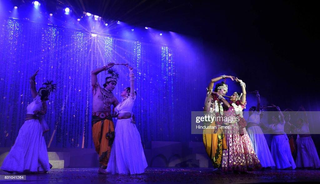 Artists perform a dance drama depicting life of Lord Krishna from his birth to his emancipation, organised by Shriram Bhartiya Kala Kendra at Kamani auditorium, on August 11, 2017 in New Delhi, India.