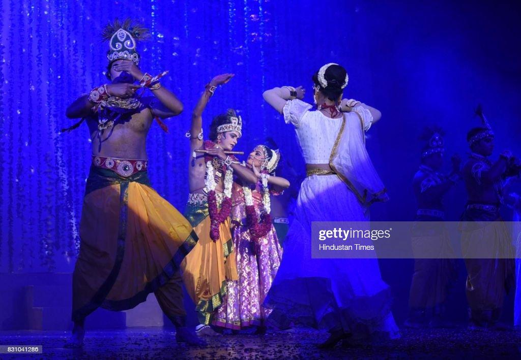 Artists perform a dance drama depicting life of Lord Krishna from his birth to his emancipation by Shriram Bhartiya Kala Kendra at Kamani auditorium, on August 11, 2017 in New Delhi, India.