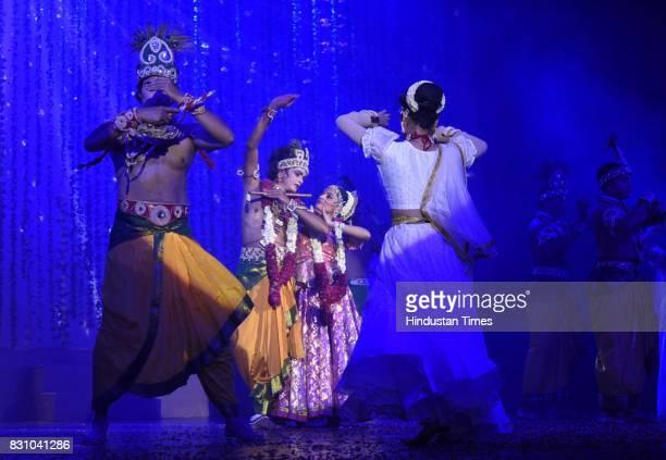 Artists perform a dance drama depicting life of Lord Krishna from his birth to his emancipation by Shriram Bhartiya Kala Kendra at Kamani auditorium...