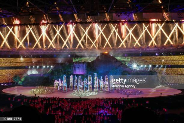 Artists perform a show during the opening ceremony of 2018 Asian Games at Gelora Bung Karno Main Stadium in Jakarta Indonesia on August 18 2018