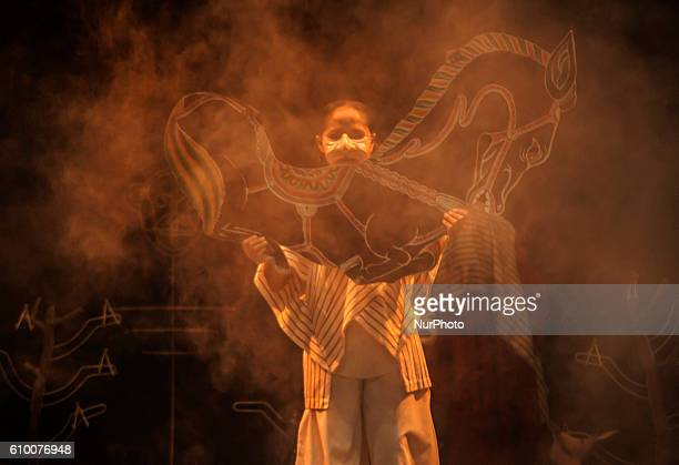 A artists perform a theater of Mahabharata Kurukshetra War in Yogyakarta Indonesia on September 23 2016 Mahabharata is an international project work...