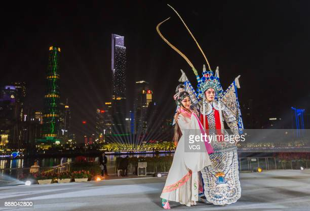 Artists perform Chinese Opera during a welcoming banquet around Canton Tower on day two of the 2017 Fortune Global Forum on December 7 2017 in...