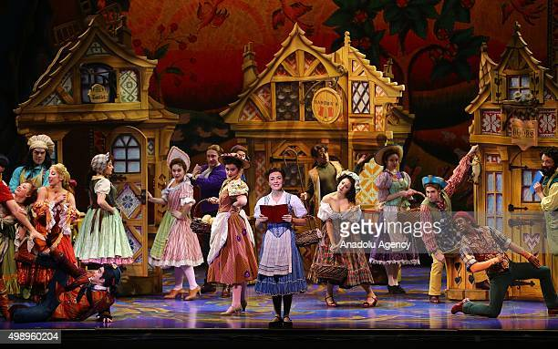 Artists perform during a Broadway Musical Beauty and the Beast at ATO Congresium in Ankara Turkey on November 27 2015 Beauty and the Beast is...