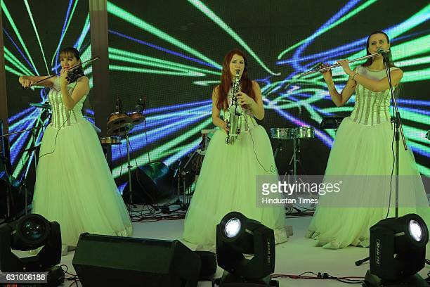 Artists perform during an engagement ceremony of Hisar MP Dushyant Chautala and Meghna Ahlawat on January 3 in Gurgaon India Dushyant is the grandson...