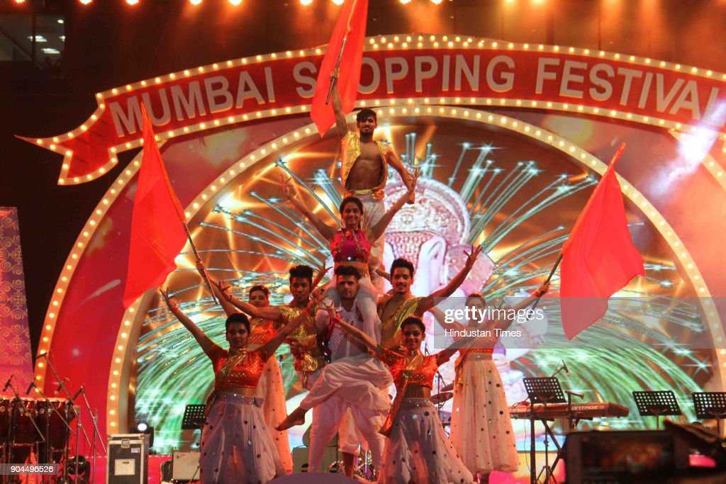 Artists perform during an opening ceremony of Mumbai Shopping Festival at JIO Garden, BKC, on January 12, 2018 in Mumbai, India. This festival has been designed on the lines of Dubai Shopping fest. Apart from this, the festival also showcases the glory of the state by way of live performances and also gives a boost to the Make In India initiative.