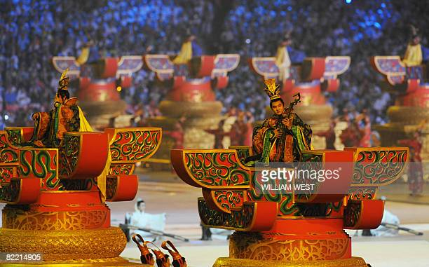Artists perform during the 2008 Beijing Olympic Games opening ceremony on August 8 2008 at the National Stadium in Beijing Over 10000 athletes from...
