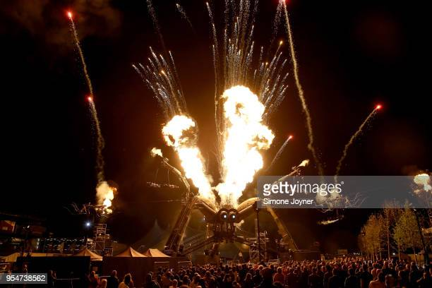 Artists perform during the Arcadia 10th Anniversary Metamorphosis show rehearsals at Queen Elizabeth Park on May 4 2018 in London United Kingdom...