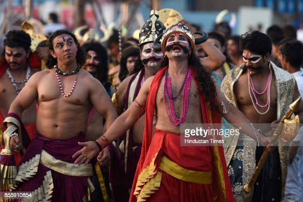 Artists perform during the Dussehra festival celebration at Lal Quila Grounds on September 30 2017 in New Delhi India Dussehra known as Vijaydashami...