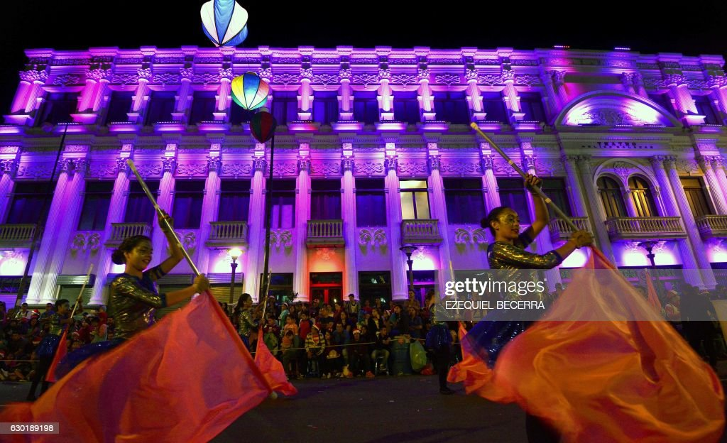 Artists perform during the Festival of Light in the main streets of San Jose, late at night on December 17, 2016