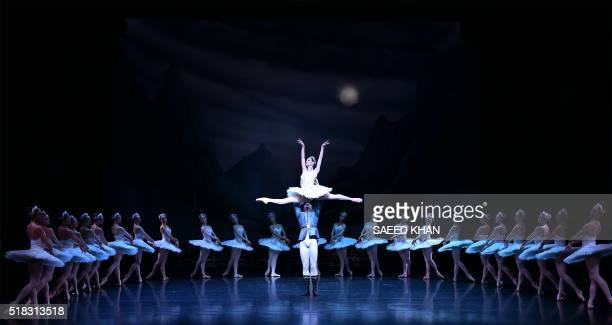 TOPSHOT Artists perform during the fulldress rehearsal of Australian Ballet's production of Swan Lake at the Sydney Opera House in Sydney on March 31...