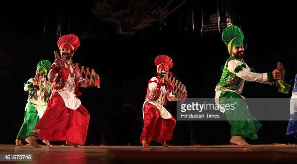 Artists perform during the Inter University Youth Festival at the Jammu University on January 17 2015 in Jammu India More than 1000 students from...
