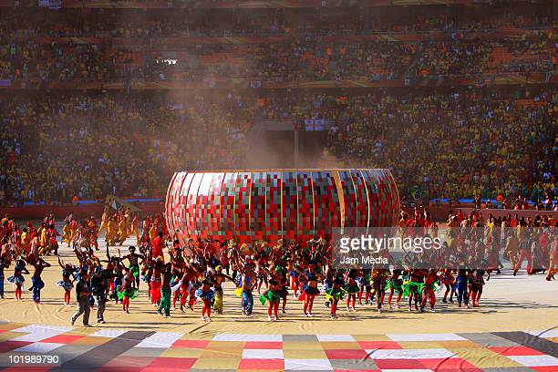 Artists perform during the opening ceremony of 2010 FIFA World Cup prior to a match between South Africa and Mexico at Soccer City stadium on June...