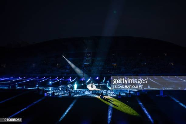 Artists perform during the opening ceremony of the 2018 Gay Games at the Jean Bouin stadium in Paris on August 4 2018 French capital Paris hosts the...