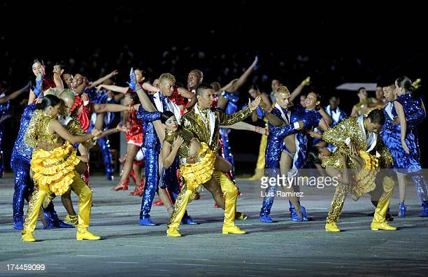 Artists perform during the Opening Ceremony of the IX World Games Cali in Pascual Guerrero Stadium on July 25 2013 in Cali Colombia