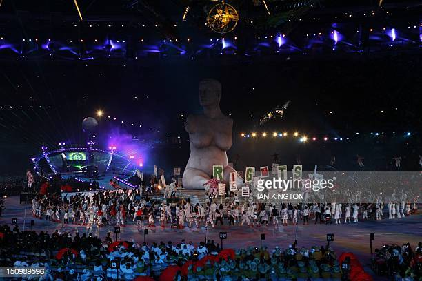 Artists perform during the opening ceremony of the London 2012 Paralympic Games at the Olympic Stadium in east London on August 29, 2012. AFP PHOTO /...