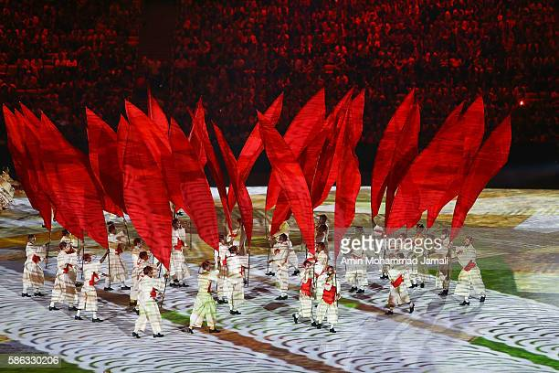Artists perform during the opening ceremony of the Rio 2016 Olympic Games at Maracana Stadium on August 5, 2016 in Rio de Janeiro, Brazil.