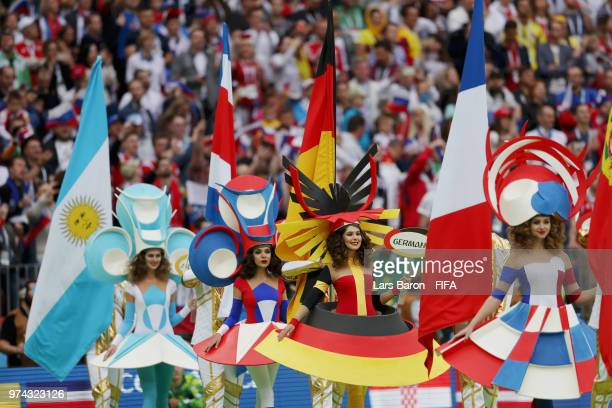 Artists perform during the opening ceremony prior to the 2018 FIFA World Cup Russia Group A match between Russia and Saudi Arabia at Luzhniki Stadium...