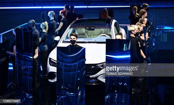 Artists perform during the presentation of the Mercedes EQE car during the Mercedes-Benz pre-night of the International Motor Show Germany, on...