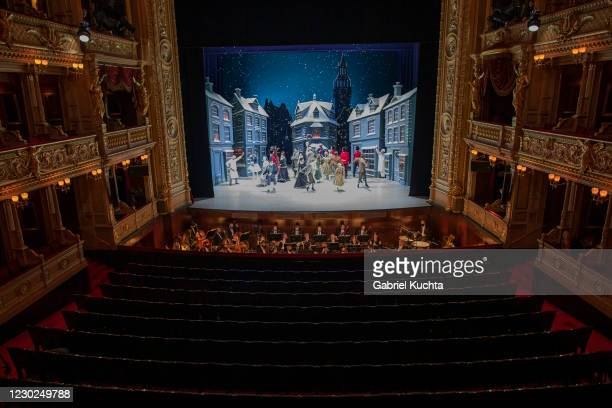 Artists perform during the rehearsal of The Nutcracker by the Czech National Ballet amid the coronavirus pandemic on December 21, 2020 in Prague,...