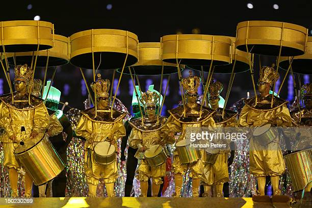 Artists perform during the Rio de Janerio handover during the Closing Ceremony on Day 16 of the London 2012 Olympic Games at Olympic Stadium on...