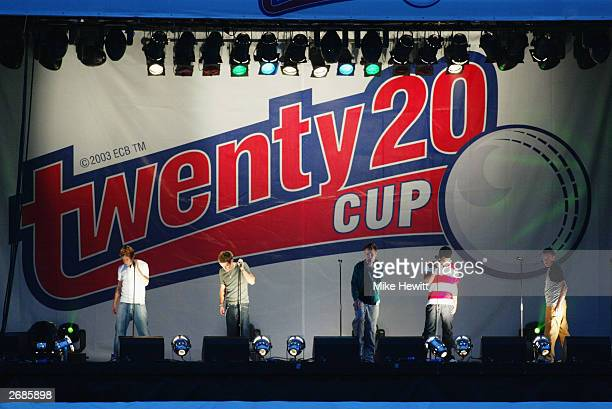 Artists perform during the Twenty20 Cup match between Hampshire and Sussex held on June 13, 2003 at the Rose Bowl, in Southampton, England.