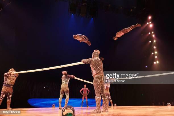 Artists perform during Totem a Cirque du Soleil Show at Parc de Bagatelle on October 24 2018 in Paris France