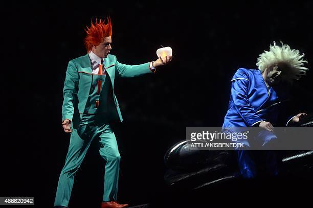 Artists perform in the Hungarian State Opera of Budapest on March 17 2015 during an opera rehearsal of Richard Wagner's 'Rheingold' directed by...