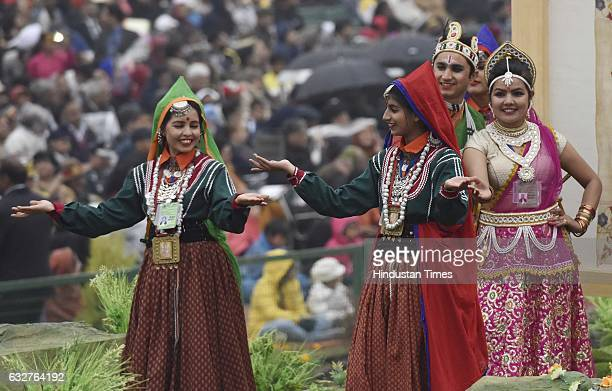 Artists perform on Himachal Pradesh tableau during the celebration of the 68th Republic Day at Rajpath on January 26 2017 in New Delhi India India...