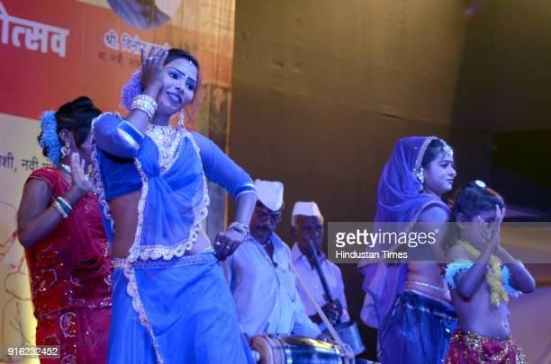 Artists perform on stage during Dholki fad and Tamasha Festival organised by Cultural Ministry near CIDCO Exhibition Center Vashi on February 8 2018...