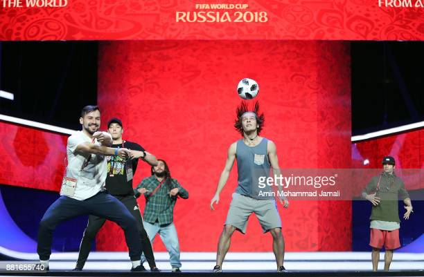 Artists perform on stage during the Behind the Scenes of the Final Draw for the 2018 FIFA World Cup at the Draw hall on November 29 2017 in Moscow...