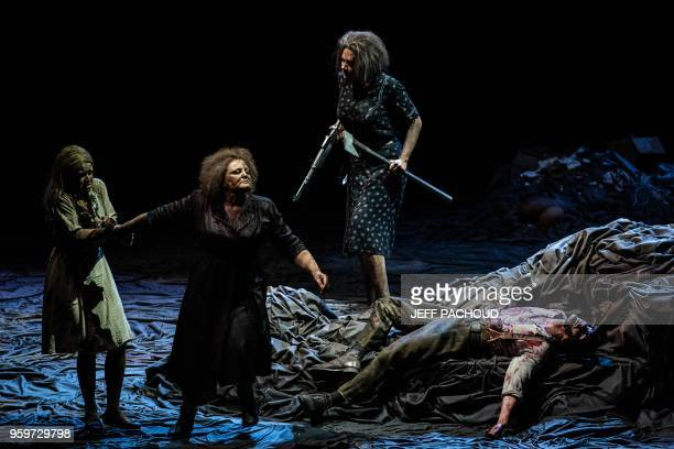 Artists perform on stage on May 17 2018 in Lyon opera during the dress rehearsal of Russian composer Alexander Raskatov opera 'GerMANIA' 'GerMANIA'...