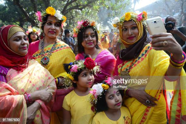 Artists perform on stage on the occasion of Basanto Utsab the first day of spring at Dhaka University Fine Arts Institution Basanto Utsav which...