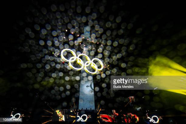 Artists perform on the Olympic Rings during the opening ceremony of the Buenos Aires 2018 Youth Olympic Games at Obelisco monument on October 06 2018...