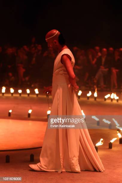 Artists perform on the runway at the Urun show during the MercedesBenz Istanbul Fashion Week on September 11 2018 in Istanbul Turkey
