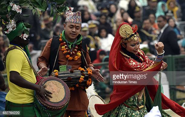 Artists perform on West Bengal tableau during the celebration of the 68th Republic Day at Rajpath on January 26 2017 in New Delhi India India...