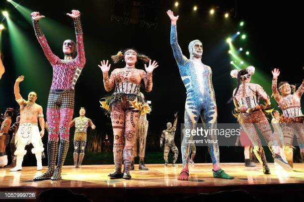 Artists perform onstage in Totem Cirque du Soleil show at Parc de Bagatelle on October 24 2018 in Paris France